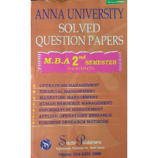 Anna University Solved Question Papers - MBA 2nd Semester